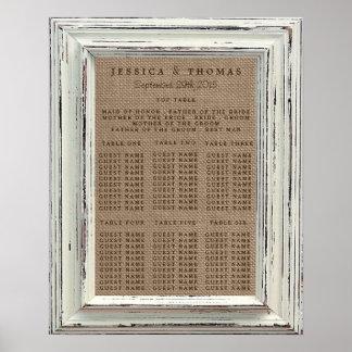 La colección blanca rústica del boda del marco y póster