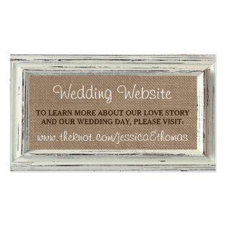 La colección blanca rústica del boda del marco y tarjetas de visita