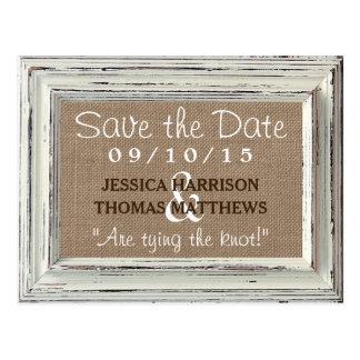 La colección blanca rústica del boda del marco y tarjetas postales