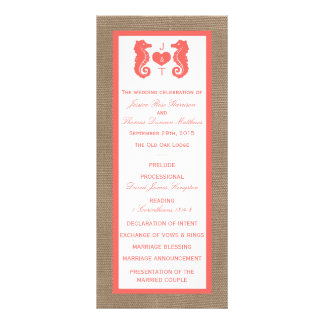 """La colección coralina del boda de playa de la folleto publicitario 4"""" x 9"""""""
