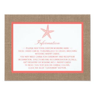 """La colección coralina del boda de playa de la invitación 4.25"""" x 5.5"""""""