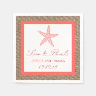 La colección coralina del boda de playa de la servilletas de papel
