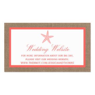La colección coralina del boda de playa de la tarjetas de visita
