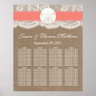 La colección coralina del boda de playa del dólar poster