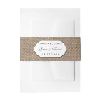 La colección de la arpillera y del boda del cordón cintas para invitaciones
