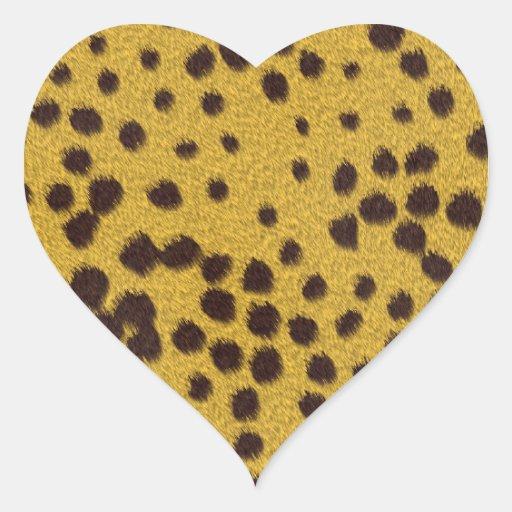 La colección de la piel - piel del guepardo pegatina en forma de corazón