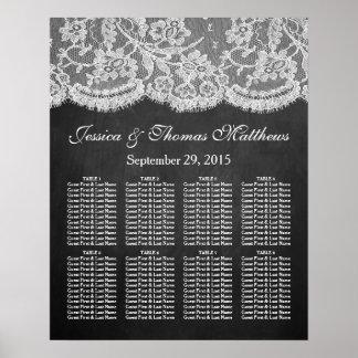 La colección de la pizarra y del boda del cordón póster