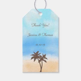 La colección del boda de playa de la acuarela etiquetas para regalos