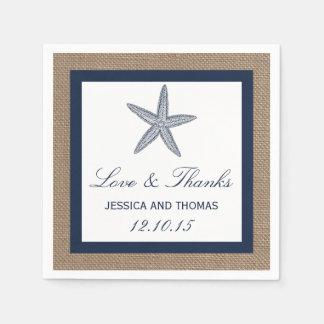 La colección del boda de playa de la arpillera de servilletas de papel