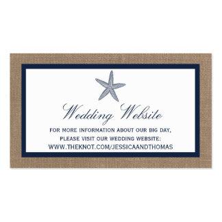 La colección del boda de playa de la arpillera de tarjetas de visita