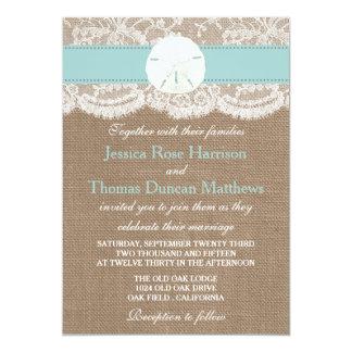 La colección del boda de playa del dólar de arena invitación 12,7 x 17,8 cm