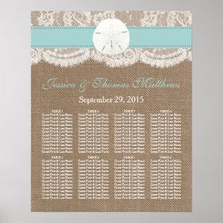 La colección del boda de playa del dólar de arena póster