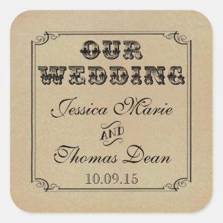 La colección del boda de Steampunk del Victorian Pegatina Cuadrada