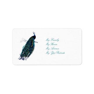 La colección del pavo real etiqueta de dirección