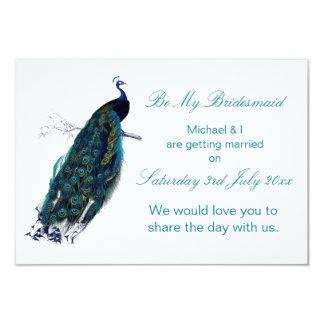 """La colección del pavo real sea mi dama de honor invitación 3.5"""" x 5"""""""
