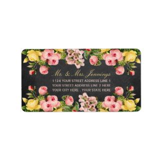 La colección floral del boda de la pizarra del etiqueta de dirección
