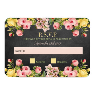 """La colección floral del boda de la pizarra del invitación 3.5"""" x 5"""""""