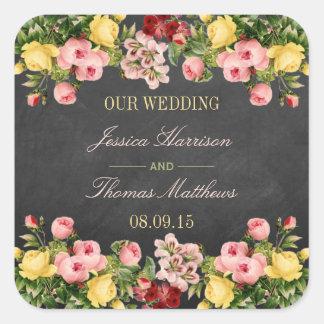 La colección floral del boda de la pizarra del pegatina cuadrada