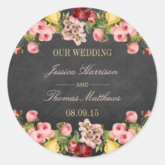 La colección floral del boda de la pizarra del pegatina redonda