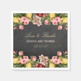 La colección floral del boda de la pizarra del servilletas desechables