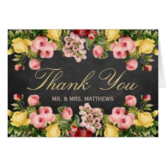 La colección floral del boda de la pizarra del tarjeta pequeña