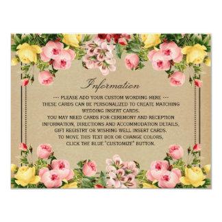 """La colección floral del boda del vintage elegante invitación 4.25"""" x 5.5"""""""