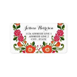 La colección floral moderna del boda de la etiquetas de dirección