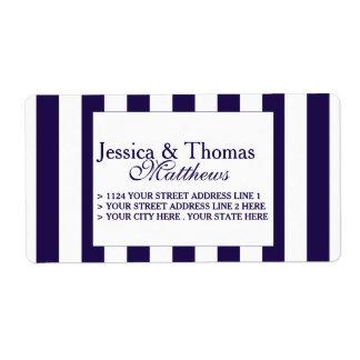 La colección moderna del boda de la raya de la etiquetas de envío