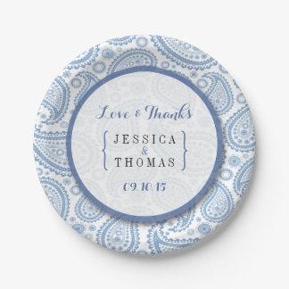 La colección moderna del boda de Paisley - azul Plato De Papel De 7 Pulgadas