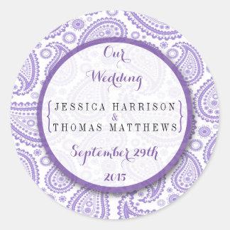 La colección moderna del boda de Paisley - púrpura Pegatina Redonda