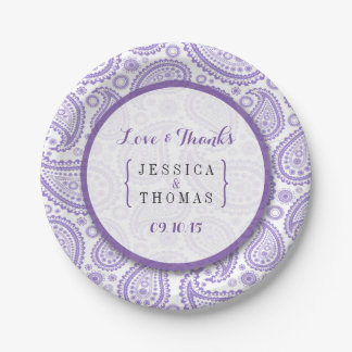 La colección moderna del boda de Paisley - púrpura Plato De Papel De 7 Pulgadas