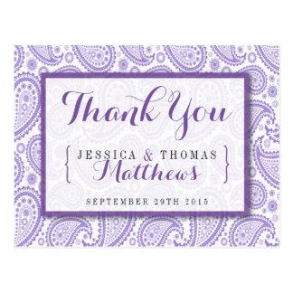 La colección moderna del boda de Paisley - púrpura Tarjetas Postales