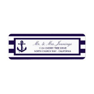 La colección náutica del boda de la raya de la etiqueta de remitente