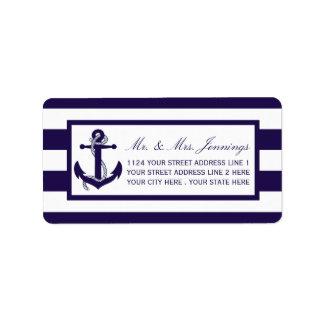 La colección náutica del boda de la raya de la etiquetas de dirección