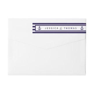 La colección náutica del boda de la raya de la etiquetas postales