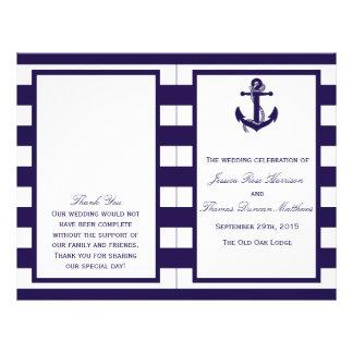 """La colección náutica del boda de la raya de la folleto 8.5"""" x 11"""""""