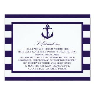 La colección náutica del boda de la raya de la invitación 10,8 x 13,9 cm
