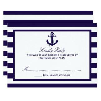 """La colección náutica del boda de la raya de la invitación 3.5"""" x 5"""""""