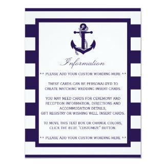 """La colección náutica del boda de la raya de la invitación 4.25"""" x 5.5"""""""