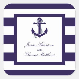 La colección náutica del boda de la raya de la calcomanias cuadradas