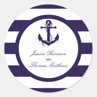 La colección náutica del boda de la raya de la pegatina redonda