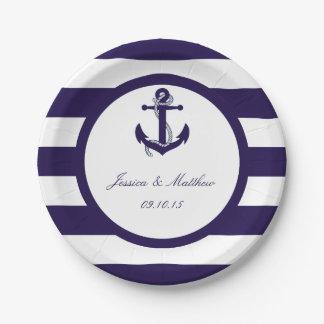 La colección náutica del boda de la raya de la plato de papel de 7 pulgadas