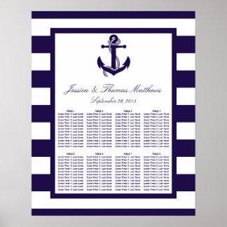 La colección náutica del boda de la raya de la póster