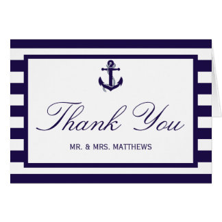 La colección náutica del boda de la raya de la tarjeta pequeña