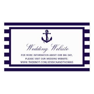 La colección náutica del boda de la raya de la tarjetas de visita