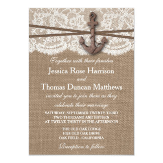 La colección náutica rústica del boda del ancla