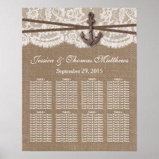 La colección náutica rústica del boda del ancla póster