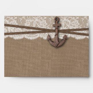 La colección náutica rústica del boda del ancla sobres