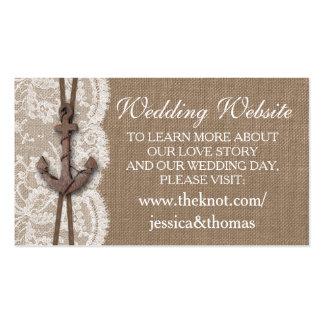 La colección náutica rústica del boda del ancla tarjetas de visita