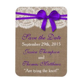 La colección púrpura rústica del boda del arco rectangle magnet